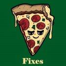 Pizza Fixes Everything Food Humor Cartoon - Vinyl Print Poster