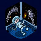 Space Pills Funny Astronaut Aliens Popping Pills - Vinyl Print Poster