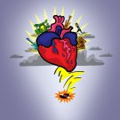 Rock N Roll Heart w/ Guitar & Drums Cartoon - Vinyl Print Poster