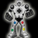 Playbot Funny Giant Robot Video Game Controller - Vinyl Print Poster