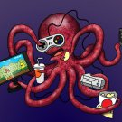 More Tentacles to Party Octovideo Funny Octopus Video Games - Vinyl Print Poster