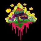 Drippy Mushrooms Funny Hippy Shroom Dripping Design Artwork - Vinyl Print Poster