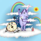 Donut Unicorn Shaving in Clouds Funny Mystical Cartoon Art - Vinyl Print Poster