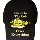 Corn on the Cob Fixes Everything Food Humor Cartoon - Black Adjustable Cap Hat