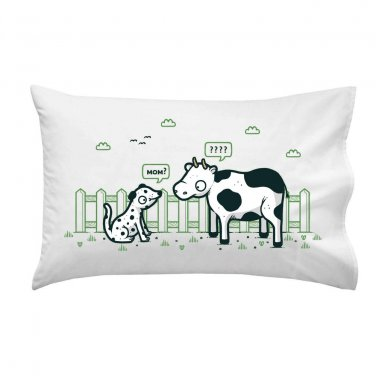 """Identity Crisis"" Dalmatian Puppy & Cow Black White Spots - Single Pillow Case"