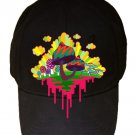 Drippy Mushrooms Funny Hippy Shroom Dripping Artwork - Black Adjustable Cap Hat