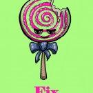 Lollipops Fix Everything Food Humor Cartoon - Plywood Wood Print Poster Wall Art