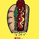 Hot Dogs Fix Everything Food Humor Cartoon - Plywood Wood Print Poster Wall Art