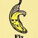 Bananas Fix Everything Food Humor Cartoon - Plywood Wood Print Poster Wall Art