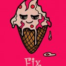 Ice Cream Fixes Everything Food Humor - Plywood Wood Print Poster Wall Art