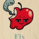 Apples Fix Everything Food Humor Cartoon - Plywood Wood Print Poster Wall Art