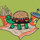 Turtle Burger Funny Shell Bun Burger Fries - Plywood Wood Print Poster Wall Art