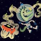 Rockin Space Dinolizard Funny Dinosaur - Plywood Wood Print Poster Wall Art