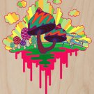 Drippy Mushrooms Funny Hippy Shroom Artwork - Plywood Wood Print Poster Wall Art