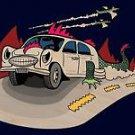 Dino Car Funny Dinosaur Lizard Cartoon - Plywood Wood Print Poster Wall Art