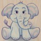 Cute Lil Elephant Funny Cute Animal Sitting - Plywood Wood Print Poster Wall Art