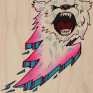 Bear Bolt Lightning Animal Cartoon Logo - Plywood Wood Print Poster Wall Art