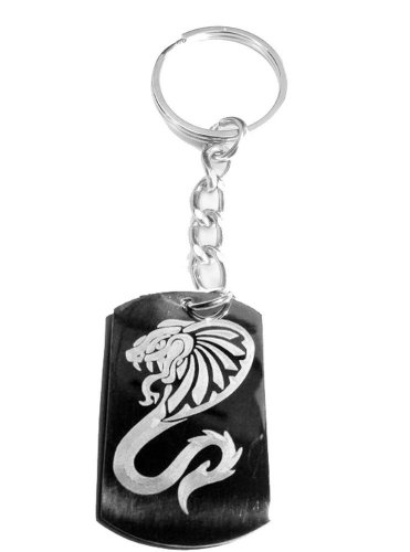 King Cobra Venom Tribal Snake Serpent Tattoo - Metal Ring Key Chain Keychain