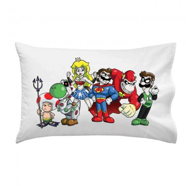 Plumbers League of America Video Game & Super Hero Parody - Single Pillow Case