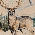 Deer Winter Scene w/ Bird Flying & Mountain - Plywood Wood Print Poster Wall Art