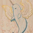 Flying Whale Narwhal w/ Wings in Clouds - Plywood Wood Print Poster Wall Art