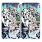 Big Cat White Tiger w/ Cubs in Mountains - Womens Taiga Hinge Wallet Clutch