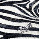 Zebra Skin Pattern Design w/ Running Animal - Rectangle Refrigerator Magnet