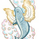 Flying Whale Narwhal w/ Wings in Clouds - Rectangle Refrigerator Magnet