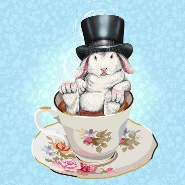 Rabbit Hole Funny Bunny w/ Teacup & Top Hat - Vinyl Sticker