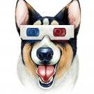 """Corgi 3D"" Funny Puppy Dog Wearing Movie Glasses - Vinyl Sticker"