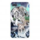 Big Cat White Tiger w/ Cubs in Mountains - FITS iPhone 5 5s Plastic Snap On Case