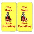 Hot Sauce Fixes Everything Food Humor Cartoon - Womens Taiga Hinge Wallet Clutch