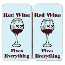 Red Wine Fixes Everything Food Humor Cartoon - Womens Taiga Hinge Wallet Clutch