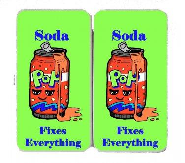 Soda Fixes Everything Food Humor Cartoon - Womens Taiga Hinge Wallet Clutch