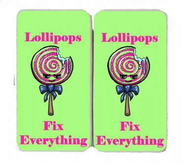 Lollipops Fix Everything Food Humor Cartoon - Womens Taiga Hinge Wallet Clutch