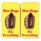 Hot Dogs Fix Everything Food Humor Cartoon - Womens Taiga Hinge Wallet Clutch