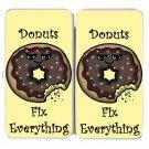 Donuts Fix Everything Food Humor Cartoon - Womens Taiga Hinge Wallet Clutch