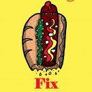Hot Dogs Fix Everything Food Humor Cartoon - Rectangle Refrigerator Magnet