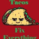 Tacos Fix Everything Food Humor Cartoon - Rectangle Refrigerator Magnet