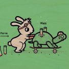 """Using Force"" Rabbit & Turtle Physics Humor - Plywood Wood Print Poster Wall Art"