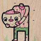 """""""Self Sufficient"""" Zombie Eats His Own Brain - Plywood Wood Print Poster Wall Art"""