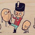 """Nut Cracker"" Soldier Doll Kicking Walnuts - Plywood Wood Print Poster Wall Art"