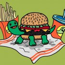 Turtle Burger Funny Shell Bun Burger Fries Meal - Rectangle Refrigerator Magnet
