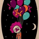 """Last Laugh"" Suicide Clown Hanging Balloons - Plywood Wood Print Poster Wall Art"