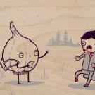 """Garlic Traveler"" Funny Scaring Vampire - Plywood Wood Print Poster Wall Art"