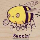 """Buzzin"" Funny Bumblebee Drinking Coffee - Plywood Wood Print Poster Wall Art"