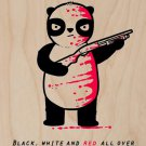 """""""Black, White, & Red All Over"""" Funny Panda - Plywood Wood Print Poster Wall Art"""
