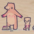 """Bear Hugs"" Blood Covered Bear Free Hugs - Plywood Wood Print Poster Wall Art"
