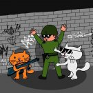 Bad Cats w/ Cop Funny Cartoon Tagged Brick Wall - Rectangle Refrigerator Magnet