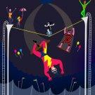 Acrobats at Circus Tent Colorful Artwork - Rectangle Refrigerator Magnet